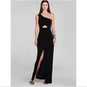 BCBG one shoulder black gown